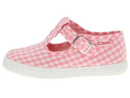 Pink Gingham T-Strap