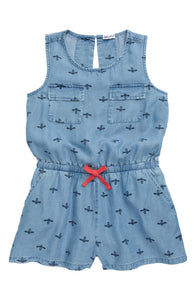 Blue Romper with Bee Print