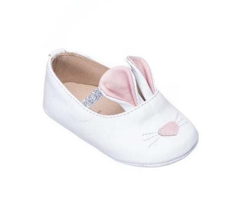 white leather bunny shoes with pink ears by Elephantito Shoes