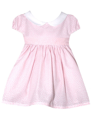 isabebl garreton pink dress with white dots and peter pan collar