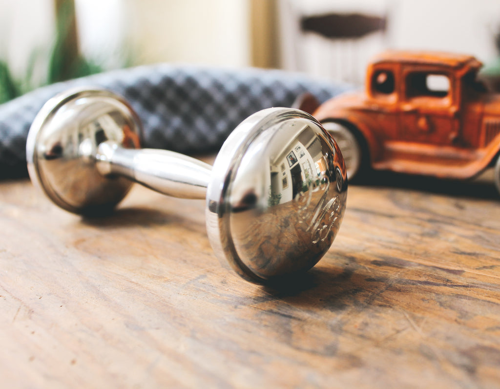 Salisbury Dumbbell Pewter Rattle for baby