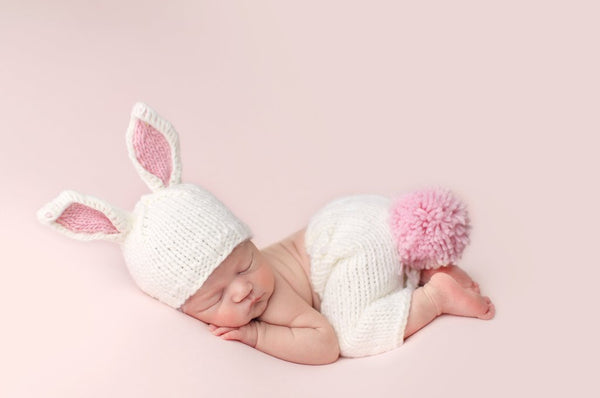 Bailey Bunny Knit Hat in White with Pink Ears