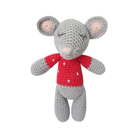 Crochet Mouse Rattle Doll