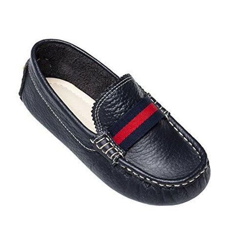 navy leather club loafer with racing stripe from Elephantito