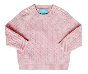 Pink Cashmere Cable Knit Sweater