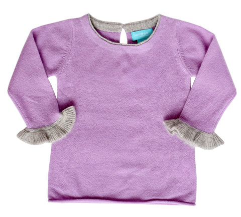 Lilac Cashmere Sweater with Ruffle Sleeve