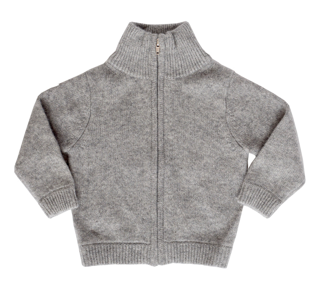 Grey Cashmere Full Zip Sweater