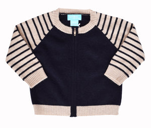 Cashmere Striped Zip Cardigan