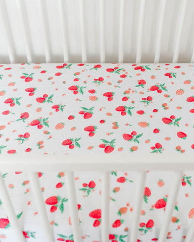 Strawberry Cotton Crib Sheet