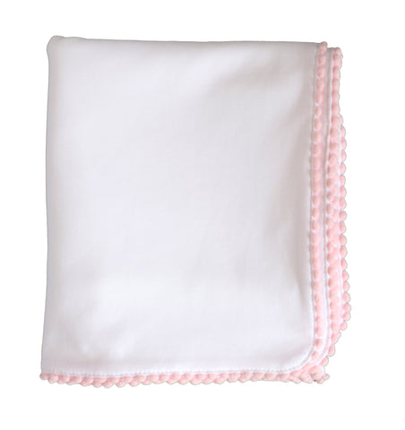 pineapple sunshine white pima cotton blanket with pink pom poms