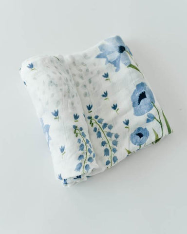 Deluxe Muslin Swaddle - Blue Windflower