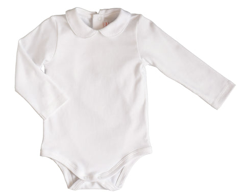 White L/S Peter Pan Onesie