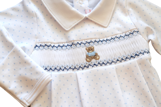 Pineapple Sunshine Smocked Teddy Bear footie