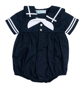 White and Navy Sailor Romper