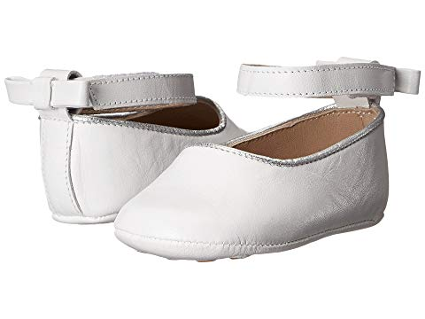 Elephantito white baby ballet shoes with back bow and ankle strap