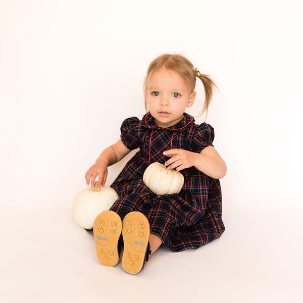 Navy and Red Tartan Frill Dress