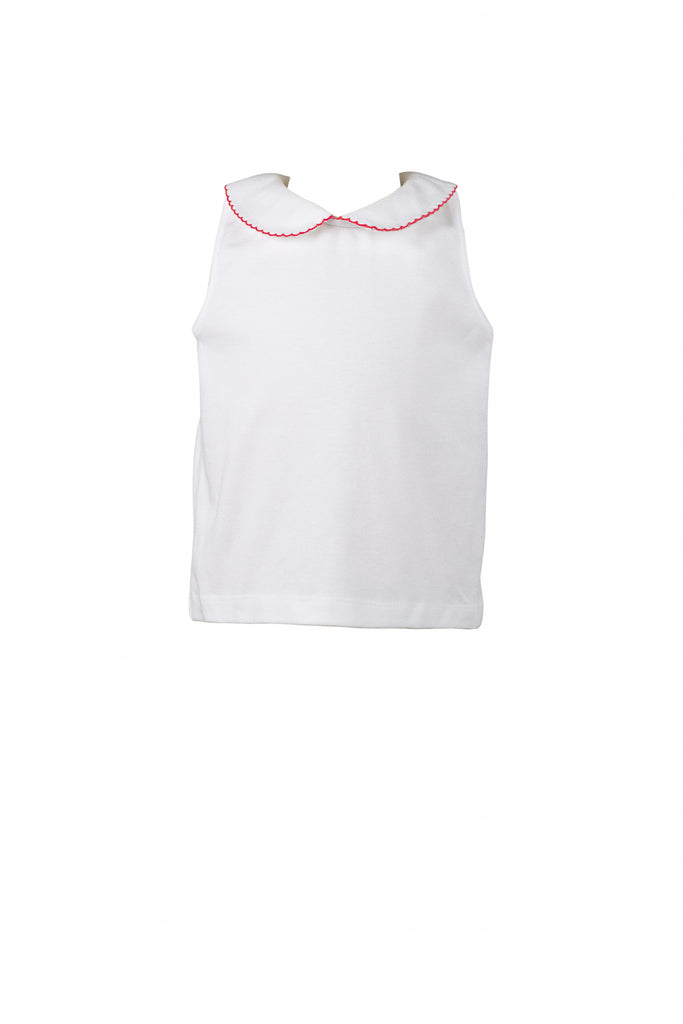 White Peter Pan Top with Red Trim