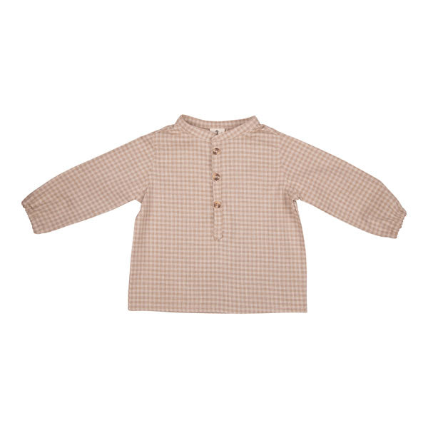 Stone Check Mandarin Collar Shirt