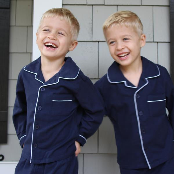 Traditional Navy Flannel Pajamas