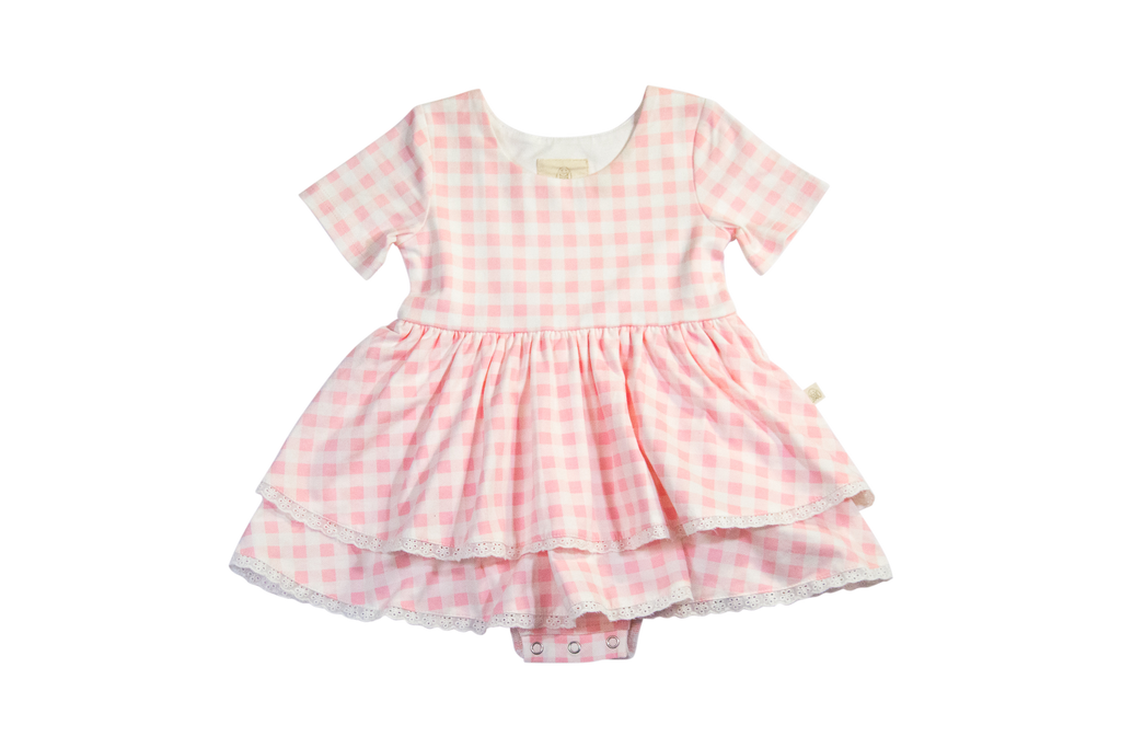 Charming Mary Caroline Skirted Bubble- Pink Picnic Gingham