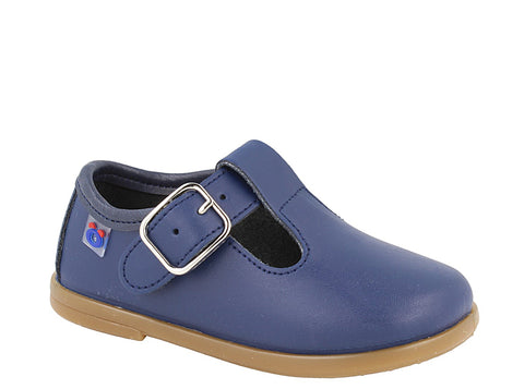 Navy Leather T-Strap