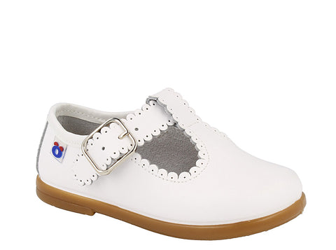 White Leather T-Strap with Scalloped Trim