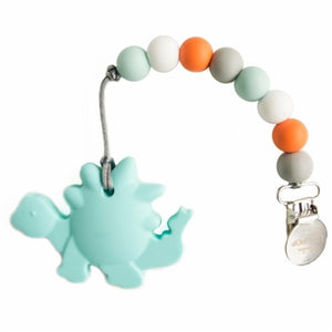 Dinosaur Teether in Aqua