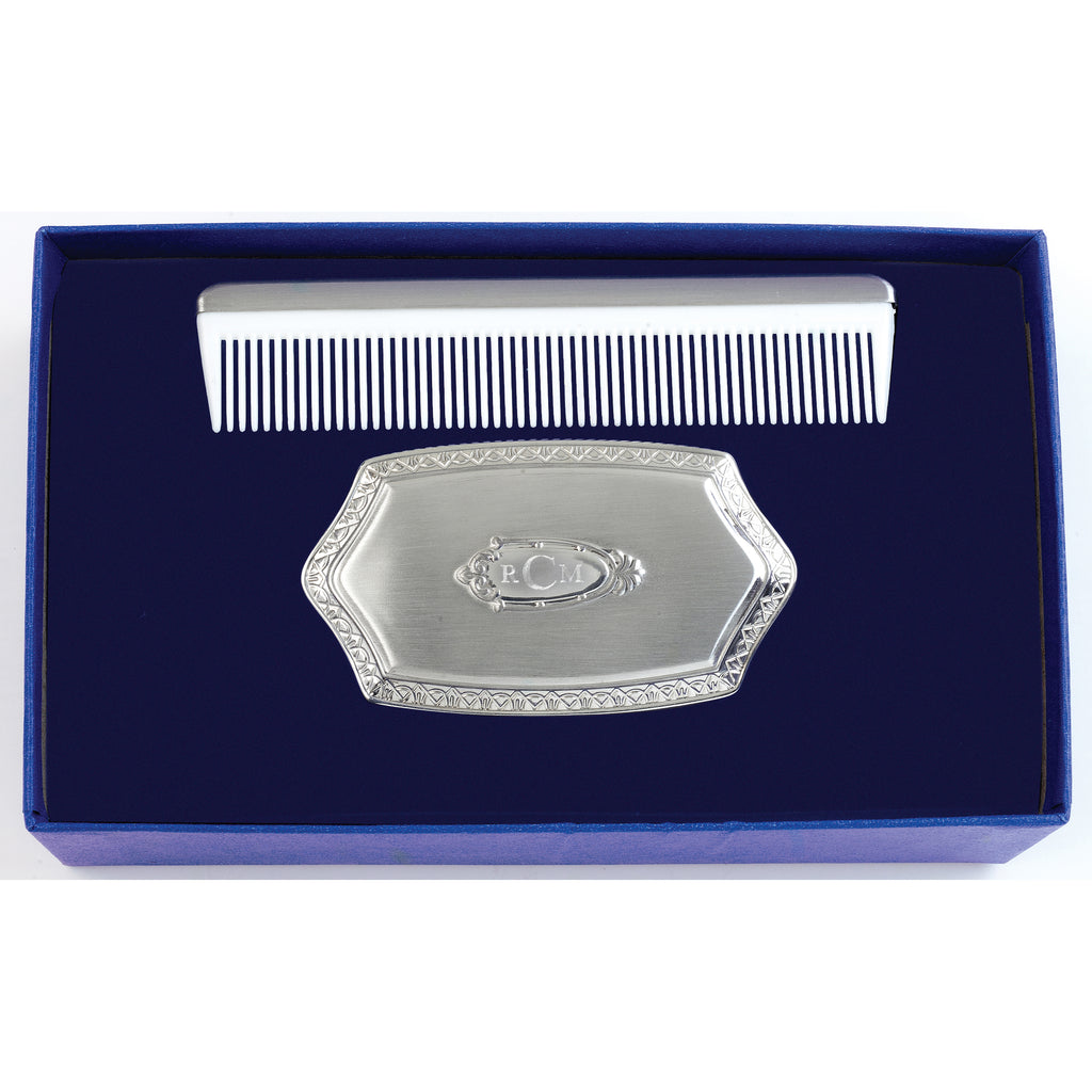 salisbury silver engraved baby boy hair brush and comb