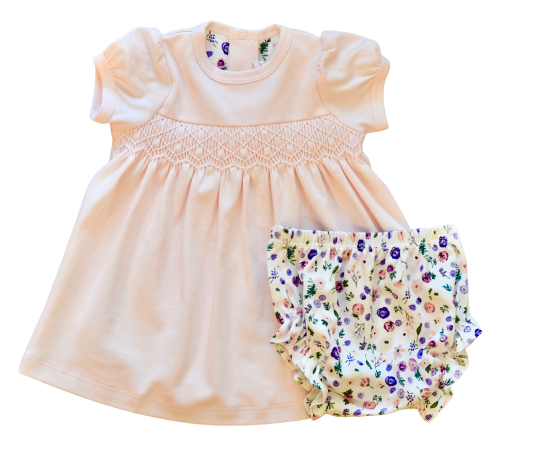 Clementine Peach Floral Smocked Dress w/Bloomer
