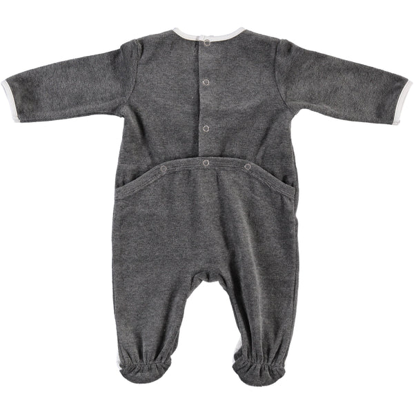Grey Quilted Velvet Footie