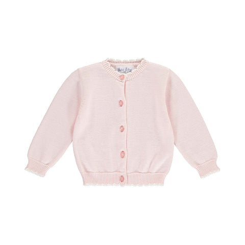 Rachel Riley pink scalloped knit cardigan