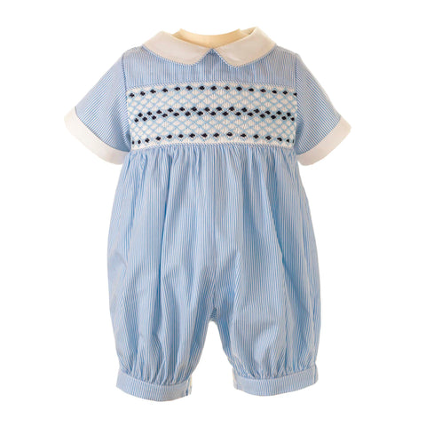 Rachel Riley Blue Smocked Romper