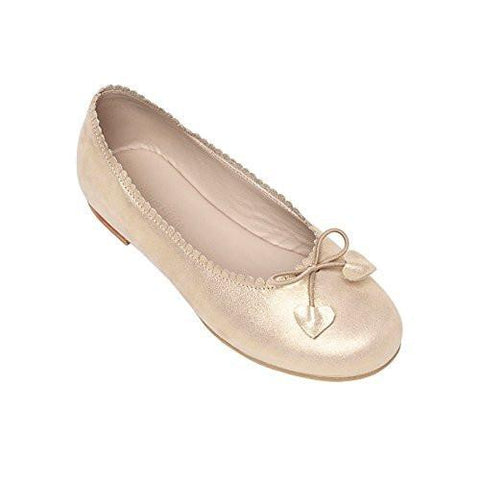 Scalloped Gold Suede Ballerina