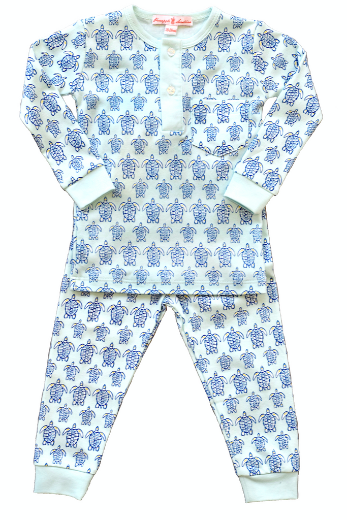 pineapple sunshine blue sea turtle pajamas