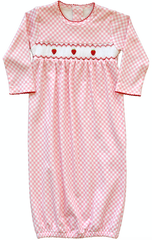pineapple sunshine pink gingham smocked strawberry newborn gown