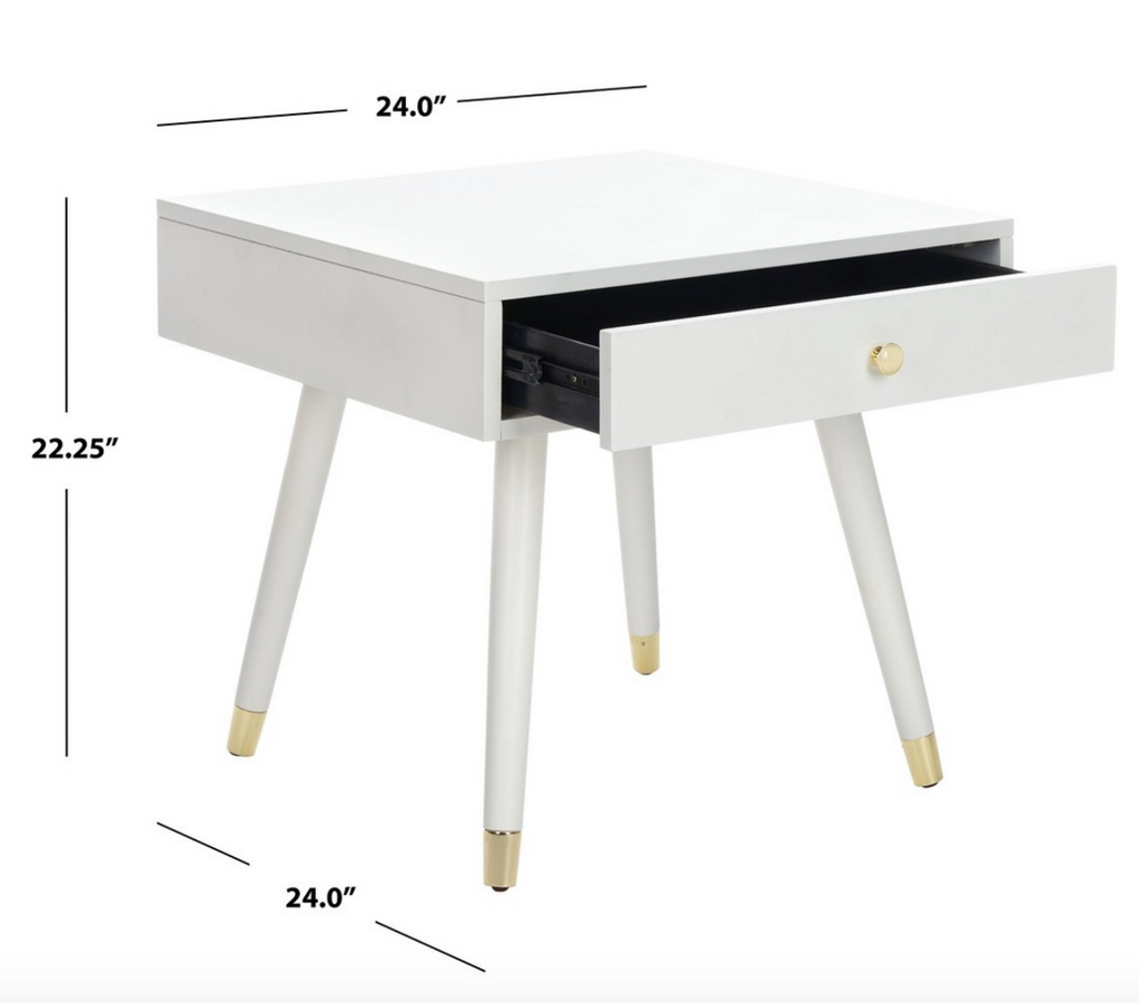 Safavieh Livinson white end table nightstand for kids