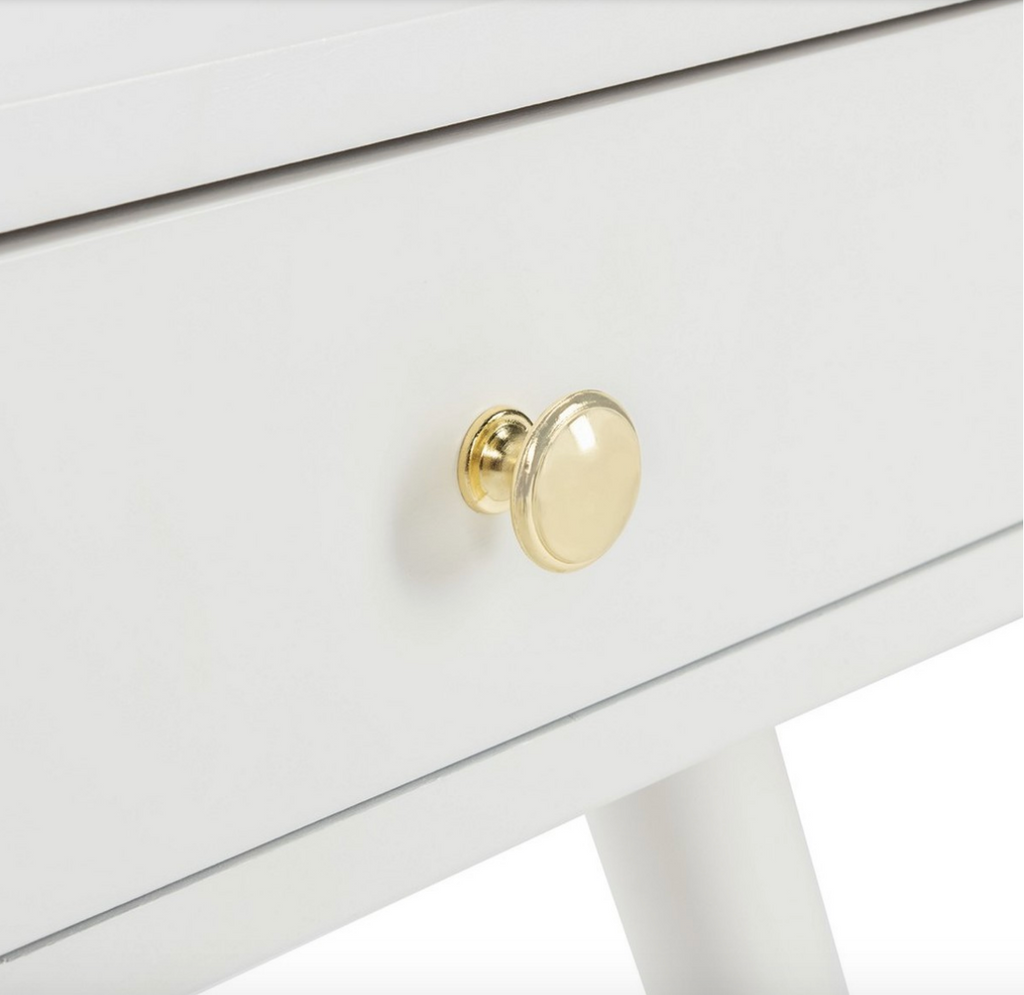 Levinson Gold Cap Nightstand- White