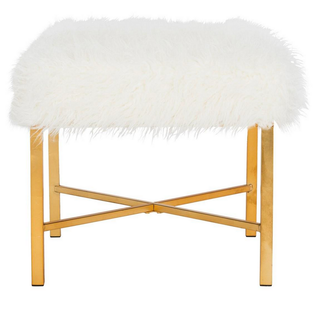 safavieh horace faux sheepskin x bench ottoman