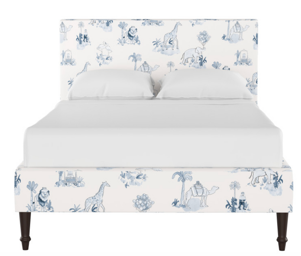 gray malin blue toile platform bed