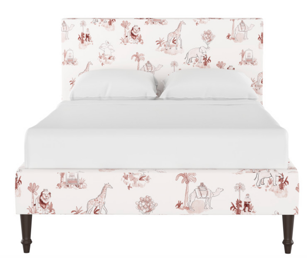gray malin x cloth and company platform bed in pink toile kids