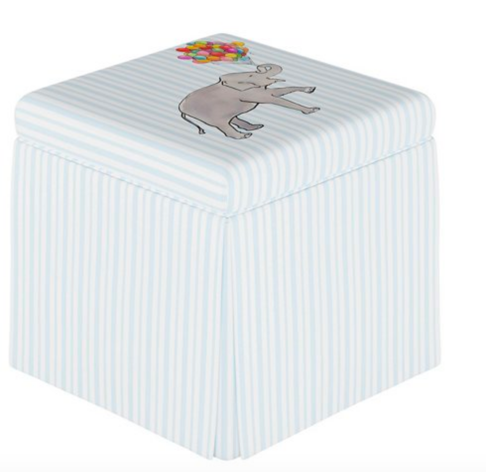 gray malin x cloth and company storage ottoman elephant