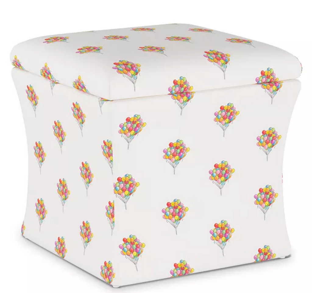 gray malin x cloth and company balloon bouquet storage bench