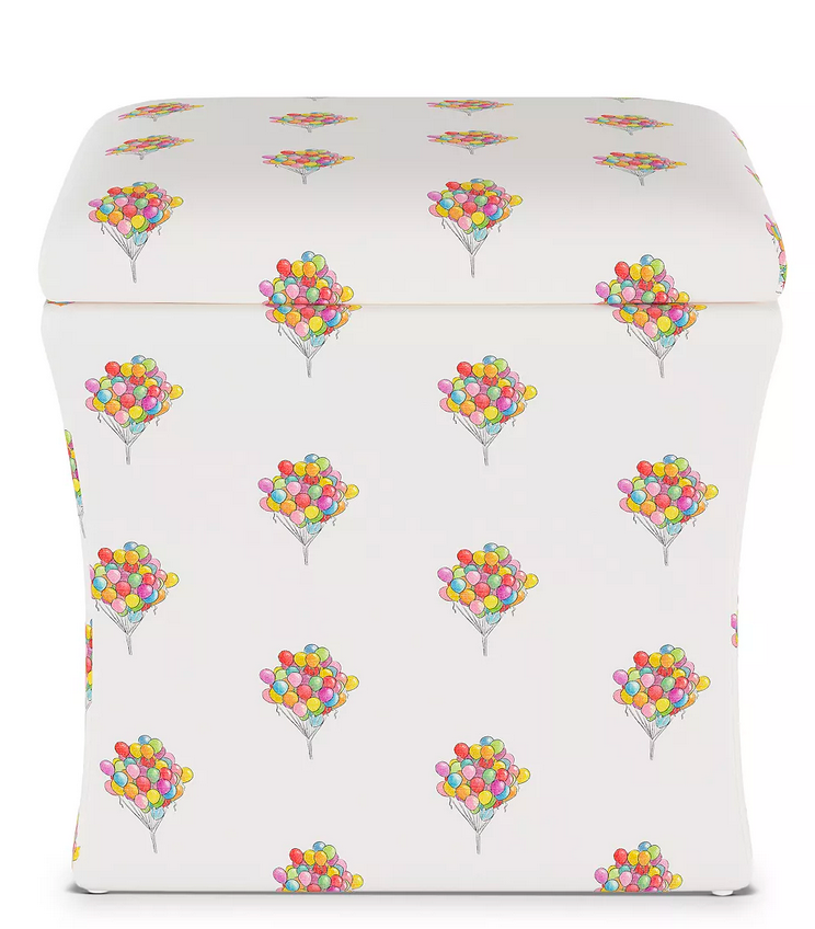 gray malin x cloth and company balloon bouquet storage ottoman