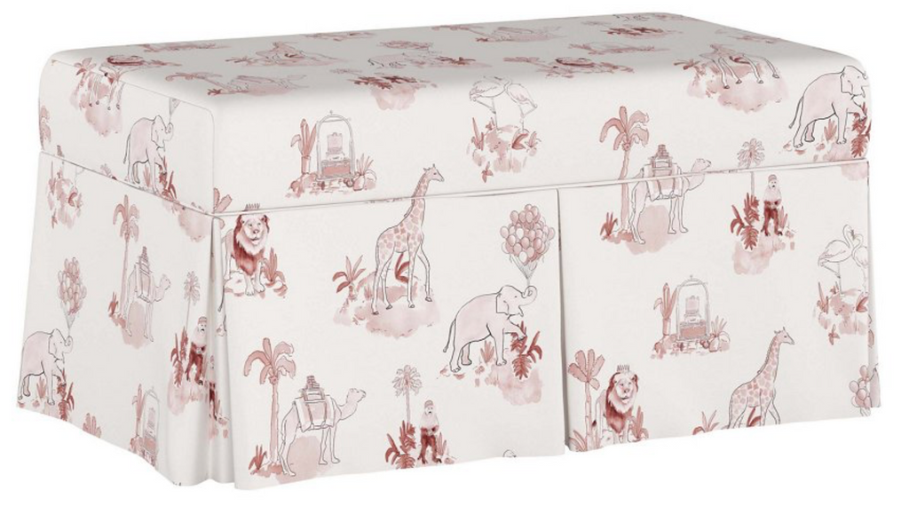 Pink Toile Storage Bench