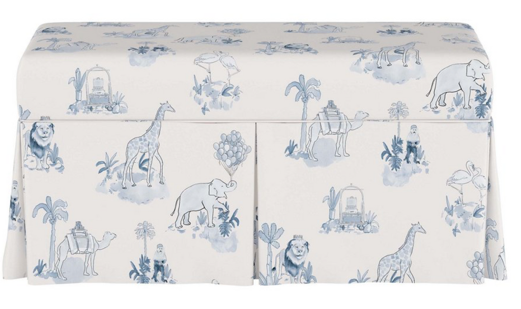 Blue Toile Storage Bench