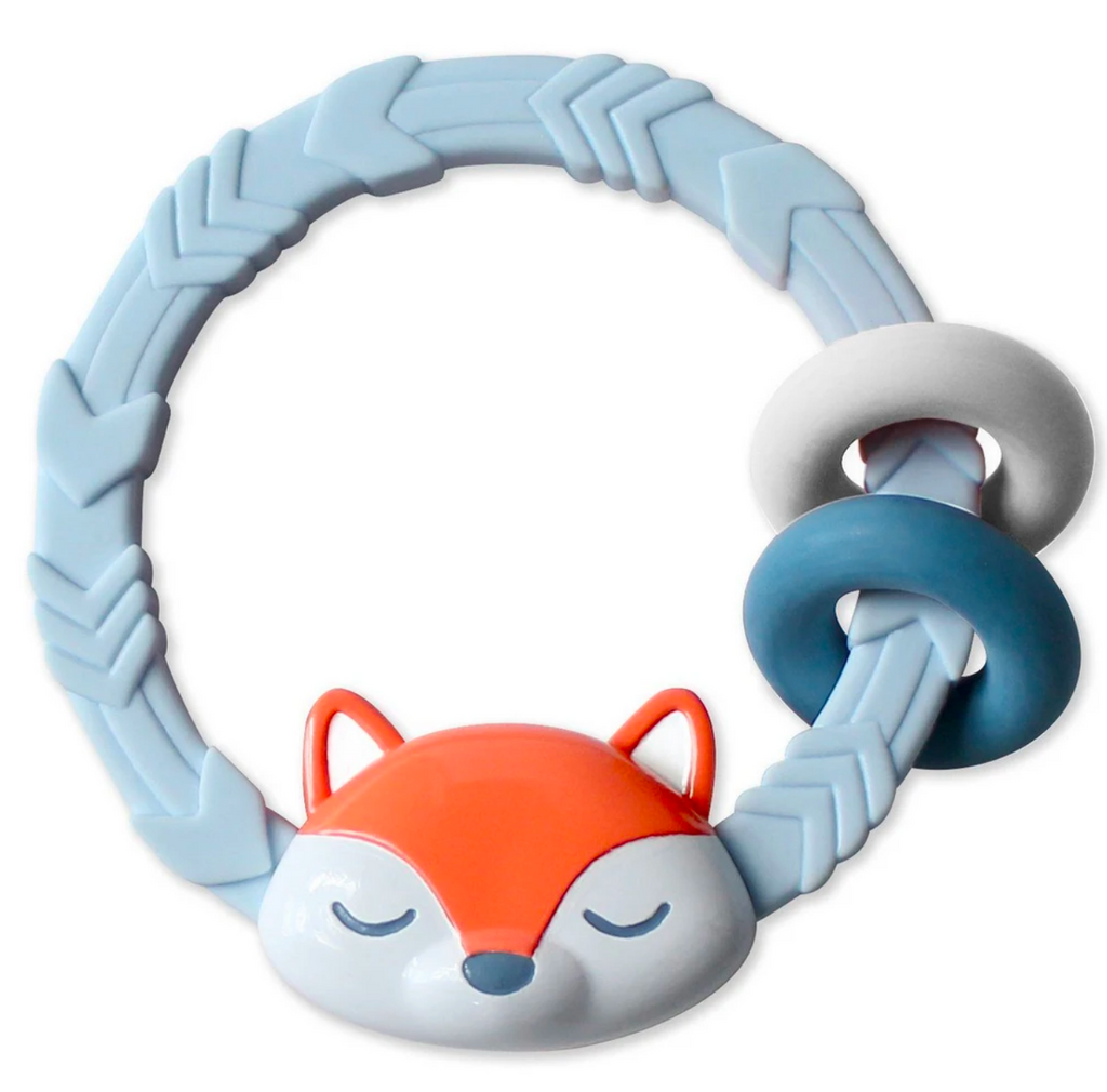 Itzy Ritzy Blue Foxs teether rattle
