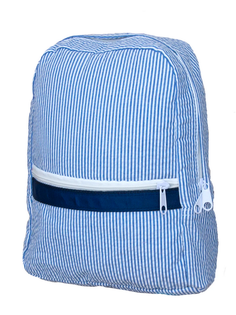 Oh mint navy seersucker backpack small little birdies