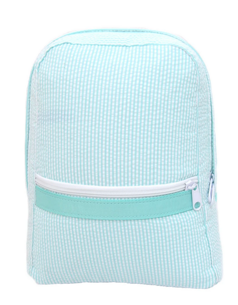 Oh mint green seersucker backpack