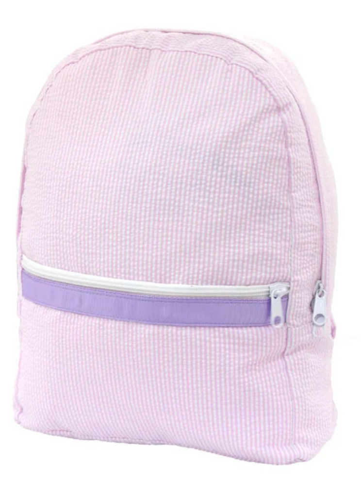 Oh MInt Pink Seersucker princess backpack