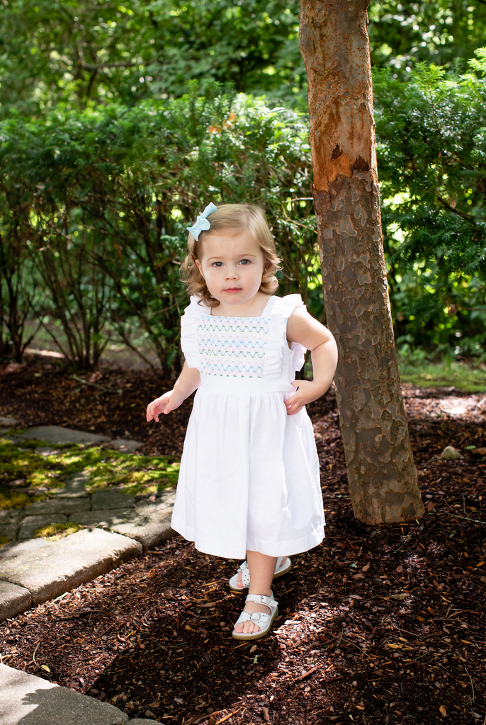 Peggy Green Smocked Edith Dress- White Pique
